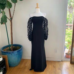 Eliza J Off the Shoulder 3D Floral Sleeve Gown